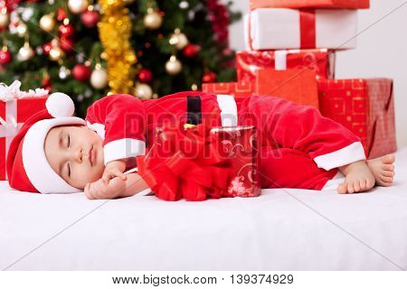 Sleeping Tired Baby Santa Claus