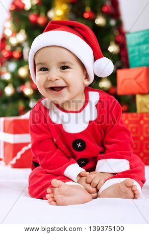 Smiling Baby Child Santa Claus With Gifts