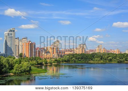 View from the Moscow bridge on the Dnieper river, the city of Kiev, Ukraine