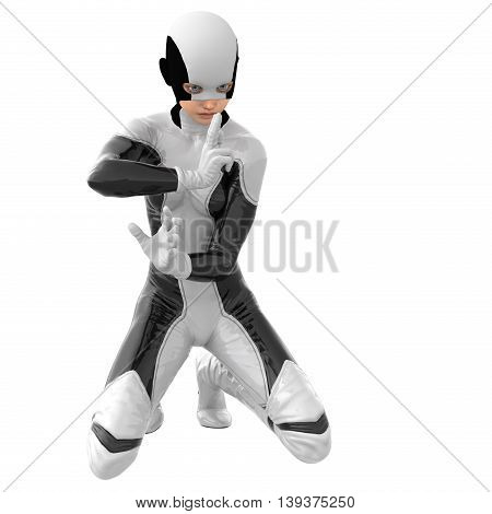 one teenage girl in a white dark super suit. Sitting on two knees in the posture of prayer with a finger of her left hand to her lips. 3D rendering, 3D illustration