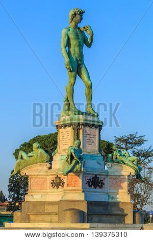 The statue of David at the Piazzale Michelangelo square