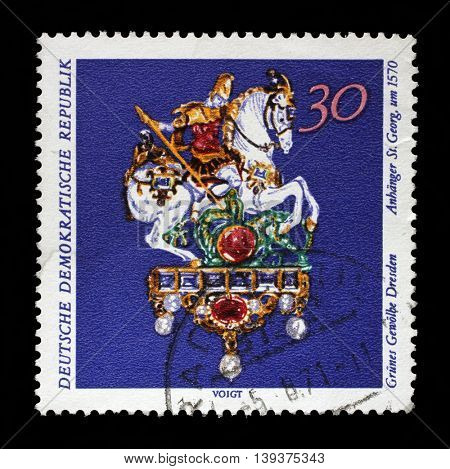 ZAGREB, CROATIA - JULY 03: A stamp printed in GDR from the Art, The Grnes Gewolbe, Dresden issue shows St. George, circa 1971, on July 03, 2014, Zagreb, Croatia