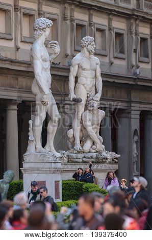 FLORENCE, ITALY - MARCH 21, 2016: Piazza Della Signoria, Florence, Italy