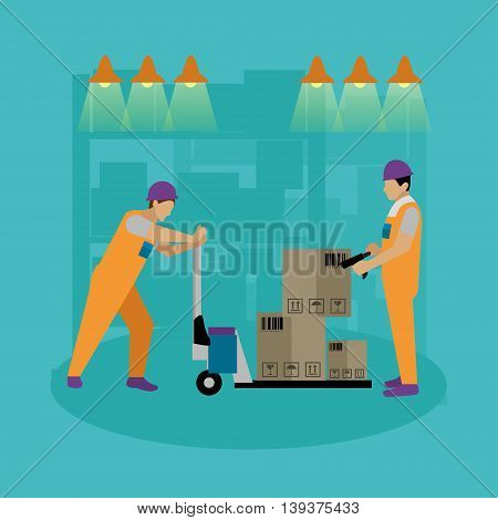 Logistic and delivery service concept banner. Warehouse workers. Vector illustration in flat style design. Delivery man working in warehouse and shipping products.