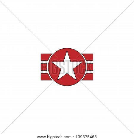Abstract USA Flag Design. Red flat simple modern illustration icon with stroke. Collection concept vector pictogram for infographic project and logo