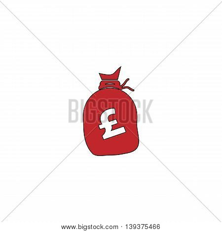 Money bag - Pound GBP. Red flat simple modern illustration icon with stroke. Collection concept vector pictogram for infographic project and logo