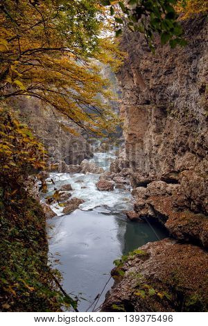 Autumn landscape of rapid mountain river in canyon and frame of yellow trees