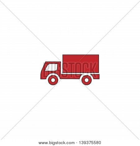Simple Truck. Red flat simple modern illustration icon with stroke. Collection concept vector pictogram for infographic project and logo