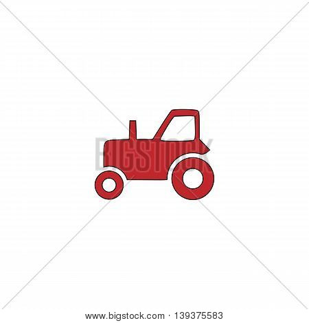 Tractor. Red flat simple modern illustration icon with stroke. Collection concept vector pictogram for infographic project and logo