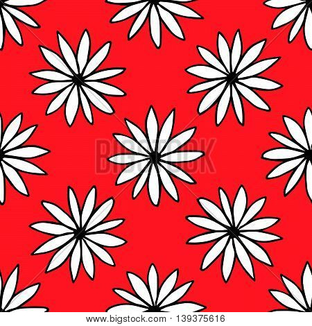 Large camomile ornaments on red background. Floral seamless pattern, vector eps 10. For prints, textile, designs.
