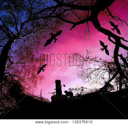 Scary halloween background with silhouettes of trees and bats. Dramatic sunset with branches, chimney and flying bats