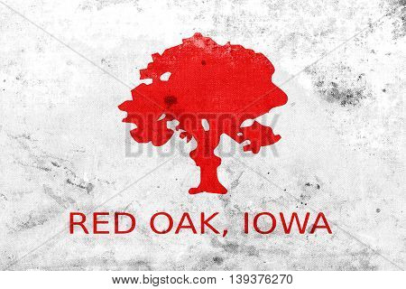 Flag Of Red Oak, Iowa, Usa, With A Vintage And Old Look