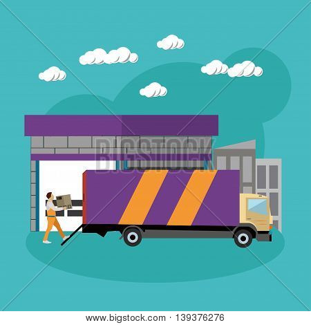 Logistic and delivery service concept banner. Warehouse and truck shipping. Vector illustration in flat style design.