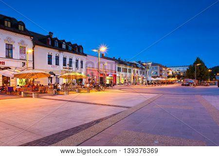 ZVOLEN, SLOVAKIA - JUNE 30, 2016: Main square in the town of Zvolen, Slovakia on June 30, 2016.