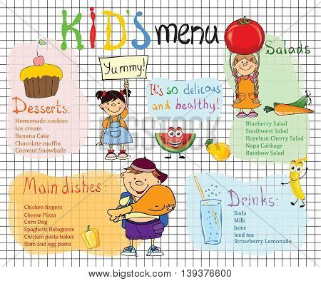 Cartoon sketch style kid's menu for children party