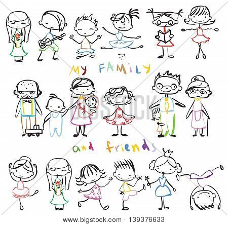 Big set of  vector doodle family and kid's friend