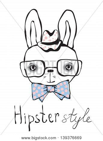 Hipster rabbit boy. Trendy background for cards