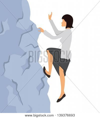Woman in business clothes climbs on the rock to the mountain top. Reaching the goal concept, vector illustration.