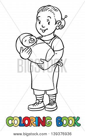 Coloring book of funny smiling nanny or mother with a baby. Profession ABC series. Children vector illustration.