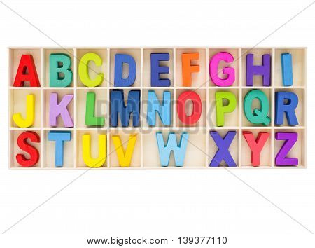 Set of colorful uppercase alphabet english letter a to z collection in wooden box