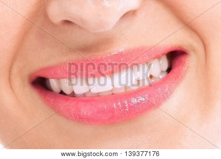 Healthy female teeth and happy smile, health concept