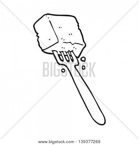 freehand drawn black and white cartoon tofu on fork
