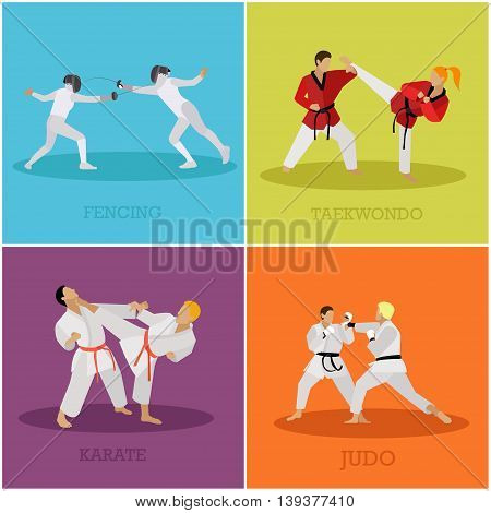 Vector set of martial arts people silhouette. Sport positions vector illustration. Design elements and icons. Martial arts and fencing fighters.