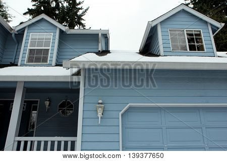 After the snow storm. Blue Houses and Winter