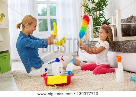 Family Having Fun And Enjoy At Home