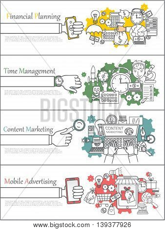 Set of business process cards: content marketing, career growth, team work, financial planning, time management, big idea