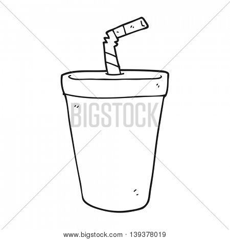 freehand drawn black and white cartoon soda