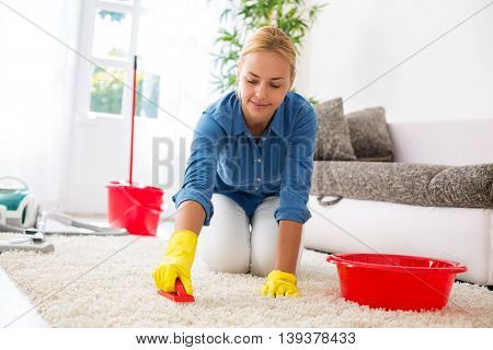 Housewife Cleaning Carpet With Brush And Doing Housework