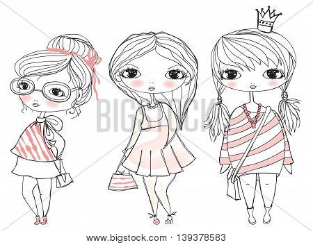 Stylish fashion girls with bags. Childish vector card