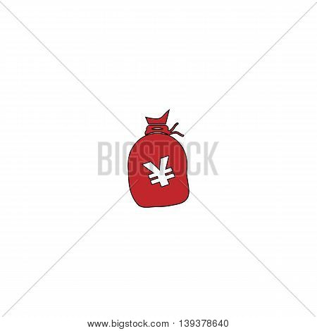 Money bag with Yen JPY. Red flat simple modern illustration icon with stroke. Collection concept vector pictogram for infographic project and logo