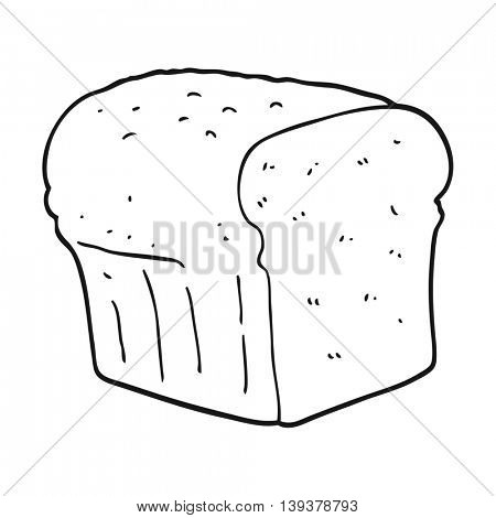 freehand drawn black and white cartoon bread
