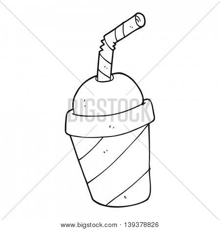 freehand drawn black and white cartoon soda drink cup