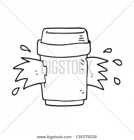 freehand drawn black and white cartoon exploding coffee cup