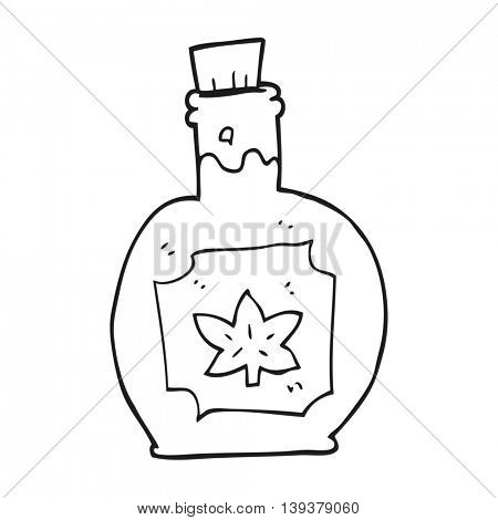 freehand drawn black and white cartoon maple syrup