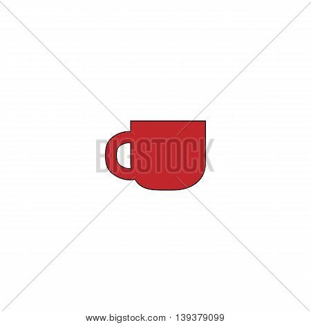 Coffee cup. Red flat simple modern illustration icon with stroke. Collection concept vector pictogram for infographic project and logo