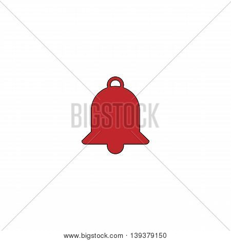 Bell. Red flat simple modern illustration icon with stroke. Collection concept vector pictogram for infographic project and logo