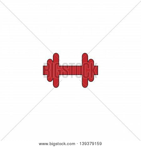 Dumbbell. Red flat simple modern illustration icon with stroke. Collection concept vector pictogram for infographic project and logo