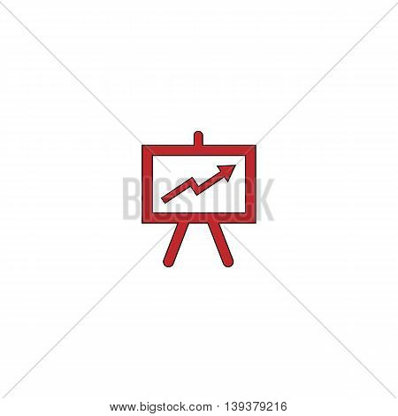 Presentation billboard. Red flat simple modern illustration icon with stroke. Collection concept vector pictogram for infographic project and logo
