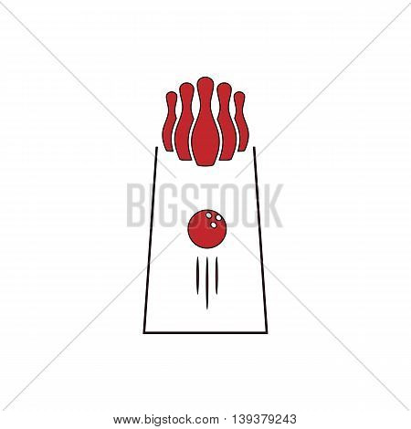 The bowling Game. Red flat simple modern illustration icon with stroke. Collection concept vector pictogram for infographic project and logo