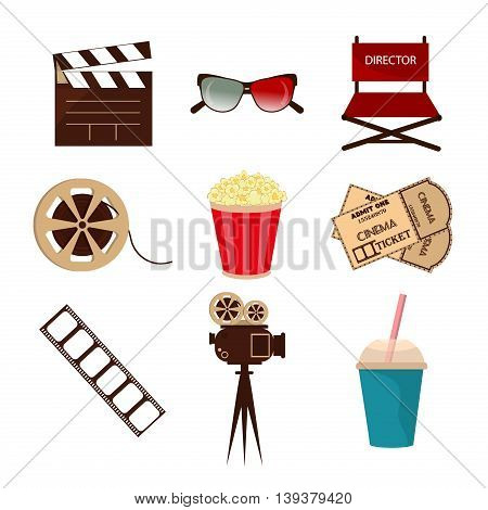 Set of movie design elements and cinema icons in flat style. Cinema symbols movie entertainment design video 3d glasses. Director multimedia cinema symbols. Camera strip cinema symbols screen media.