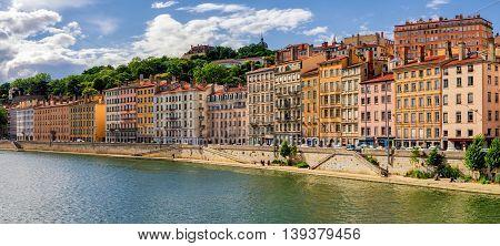 Lyon (France) old buildings near river Saone