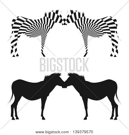 Silhouettes of zebras with abstract geometric pattern. Vector illustration of silhouettes of zebras.