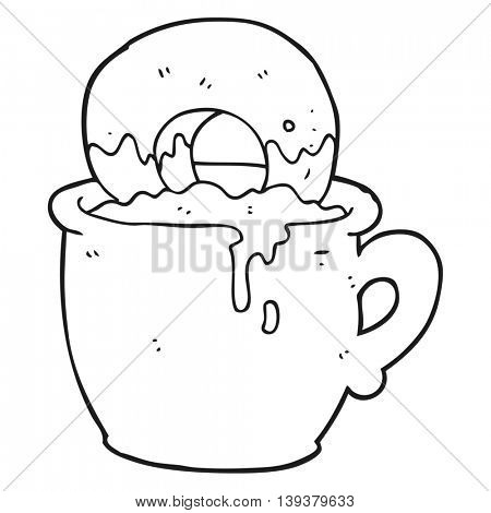 freehand drawn black and white cartoon donut dunked in coffee