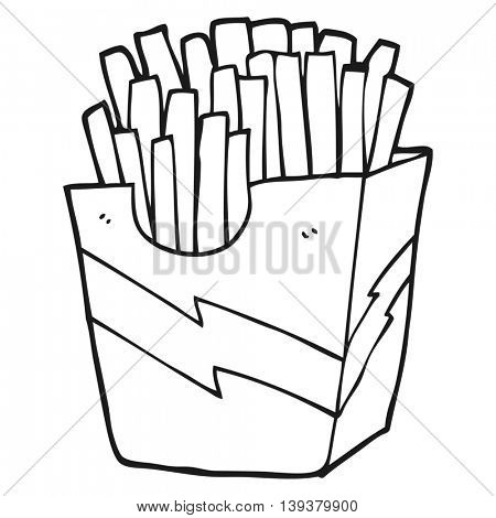 freehand drawn black and white cartoon french fries
