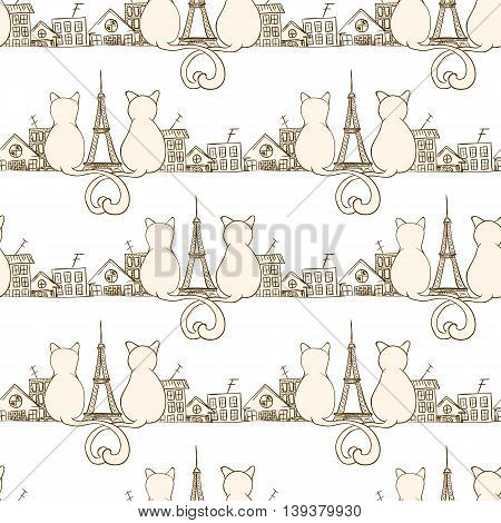 Seamless cat pattern can be used for wallpaper, website background, wrapping paper. Bright pattern of sitting cats. Love design. City concept.