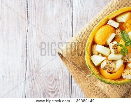 Vegan Salad With Melon And Tofu